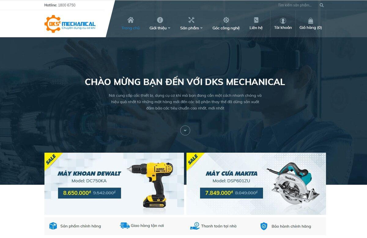 thiết kế website cơ khí