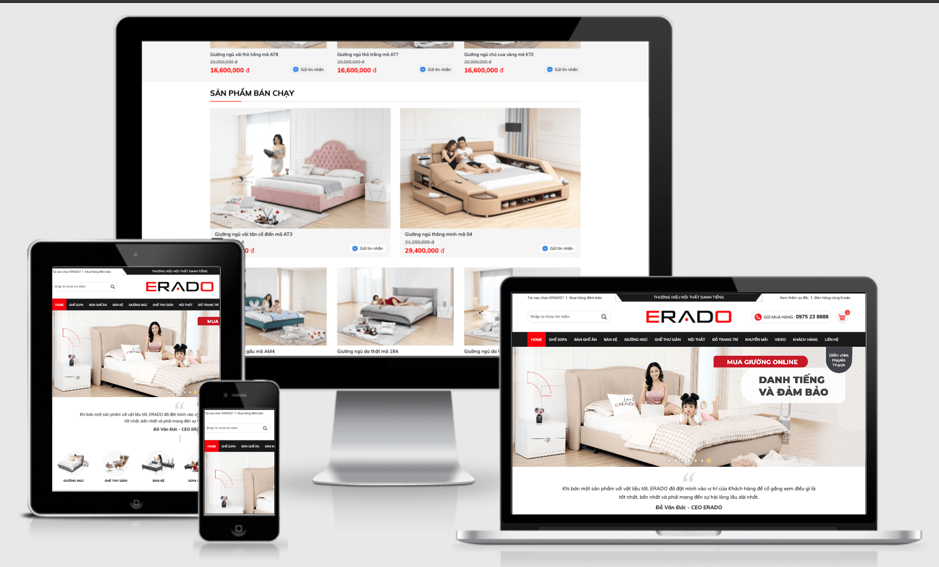 thiết kế website nội thất Erado